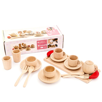 Kids Wooden Kitchen Set Miniature Kitchen Wooden Tea Set Toy Girls Realistic Wooden Cooking Tableware Set