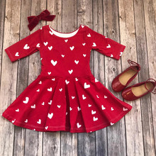 Heart Print Toddler Girls Dress Valentine Day Outfit Cute Baby Girls Clothes Lon