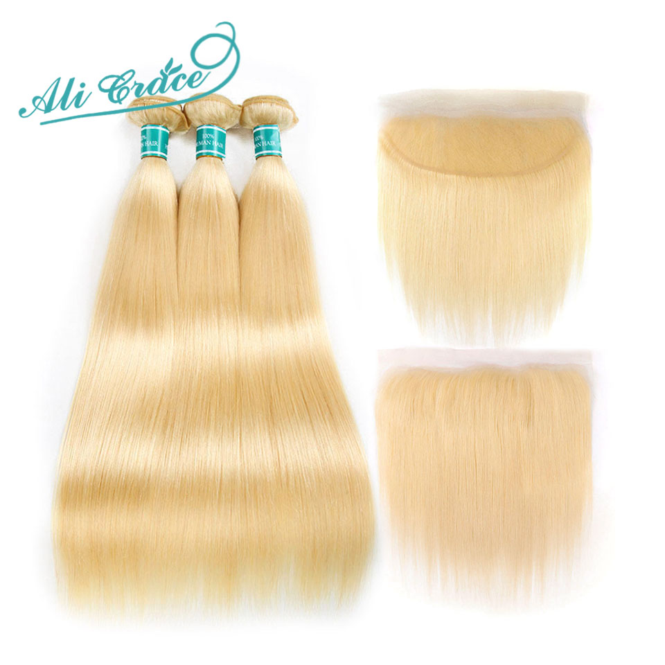 H3b003b77a8ff475bbb54dbc65f1531b1t Ali Grace Hair Blonde 613 Bundles With Frontal Brazilian Straight Bundles with Closure 13*4 Remy Blonde Bundles With Frontal