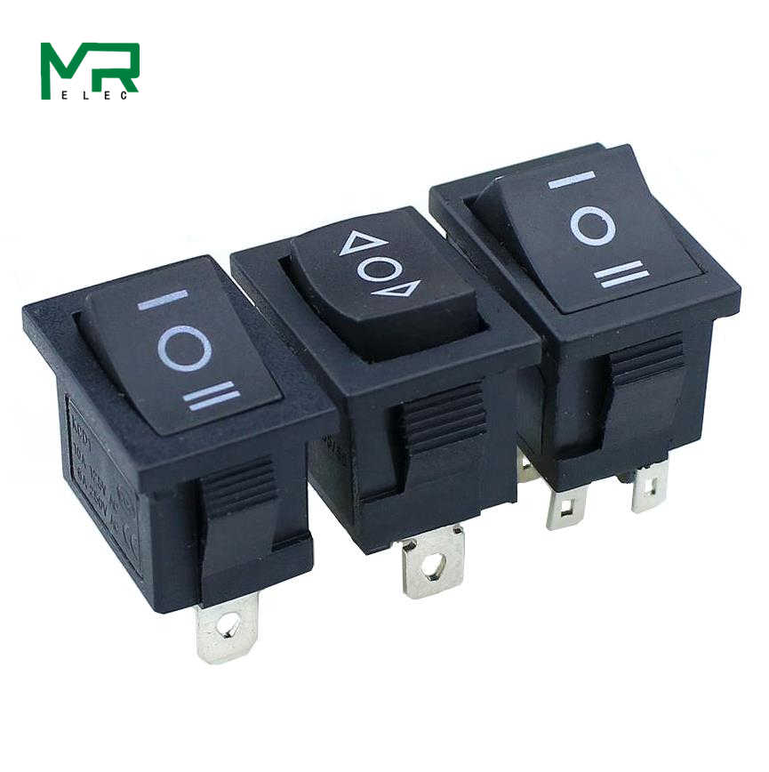 1 Pcs KCD1 Mini Hitam 3 Pin/6 Pin On/Off/Pada Rocker Switch AC 6A/ 250V10A/125V