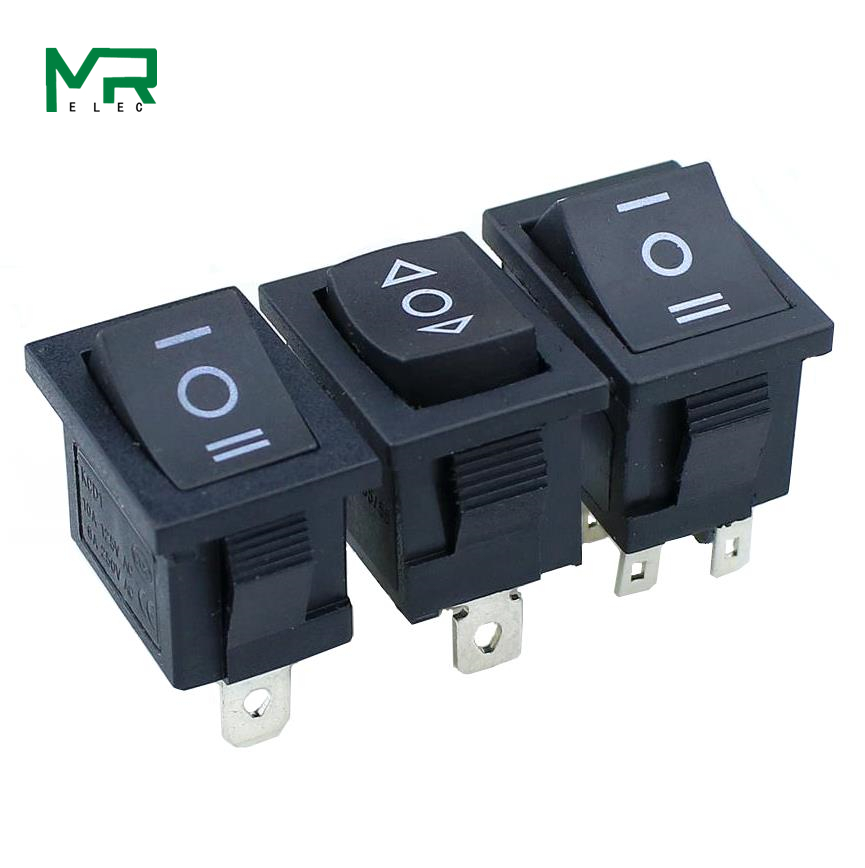 1PCS KCD1 Mini Black 3 Pin / 6 Pin On/Off/On Rocker Switch AC 6A/250V10A/125V