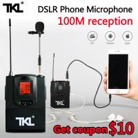 TKL UHF Wireless Lavalier Lapel Microphone Omnidirectional System Video Record DSLR Phone Condenser Mic