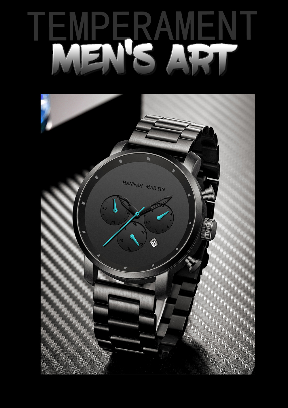 H3b0080d0776544c9aedf9a322abb8b0aB DropShipping Big Dial 45mm Full Black Stainless Steel Multi-function Calendar Men's Top Brand Luxury Watches Relogio Masculino