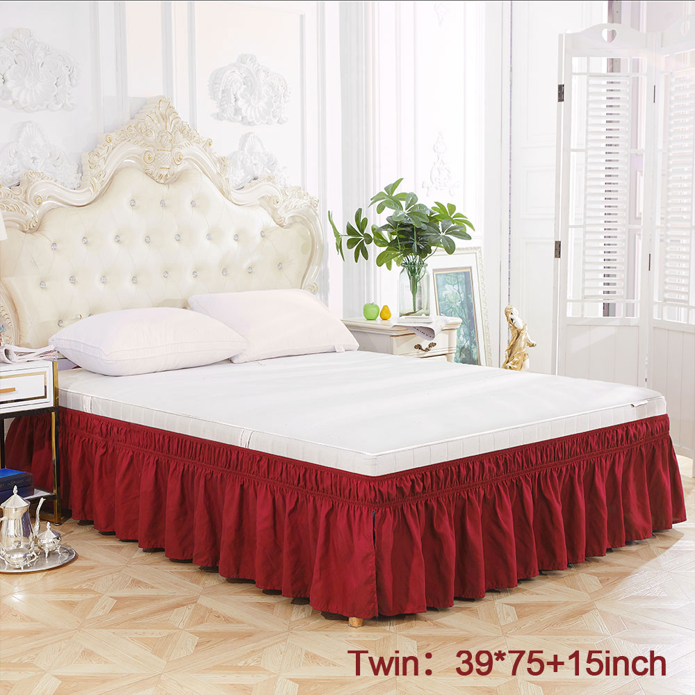 Solid Color Elastic Bed Skirt Wrinkle Free Dust Ruffle For Twin Queen King US Standard  Size Simple Sweet Style For Family