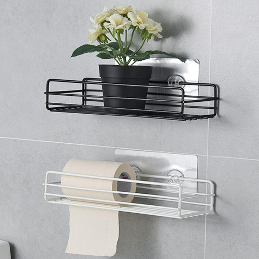 Bathroom Shelf Corner Storage Rack Organizer Shower Wall Shelf Adhesive No Drilling Iron Kitchen Bathroom Shelve