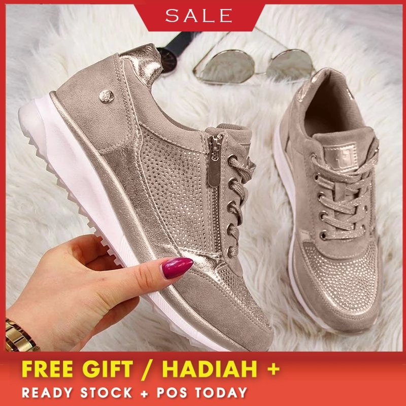 Woman Sneakers with Zipper Platform Trainers Women Shoes Casual Lace-Up gold tennis shoes casual Womens Sneakers