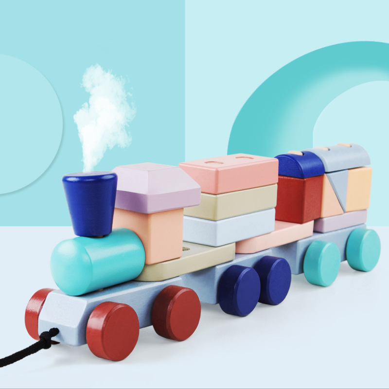 Colorful Wooden Train Building Blocks Kids Baby Wood Stacking Train Toddler Educational Block Toys For Children Birthday Gifts