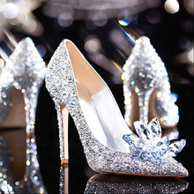 2020 Drill Rhinestone Crystal Shoes Women Wedding Shoes Pointed Toe High Heels Party Prom Bling Sequins 10cm Shoes Bridal Shoes aidocrystal sparkling white ab color crystal bridal wedding shoes ivory evening shoes festival party prom high heels