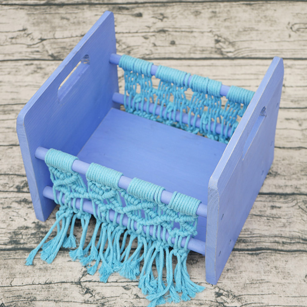 Retro Home Posing Small Background Newborn Bed Baby Woven Rope Sofa Decoration Wooden Photography Prop Studio Cot