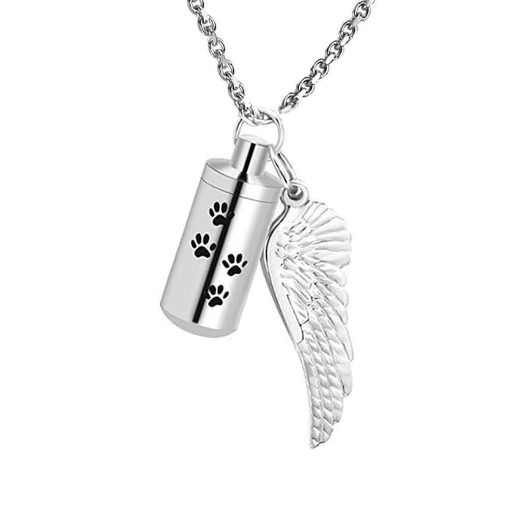 Biżuteria do kremacji dla zwierząt pies łapa urna naszyjnik na popiół z aniołem skrzydło urok i Cylinder wieczność naszyjnik ze stali nierdzewnej popiołów