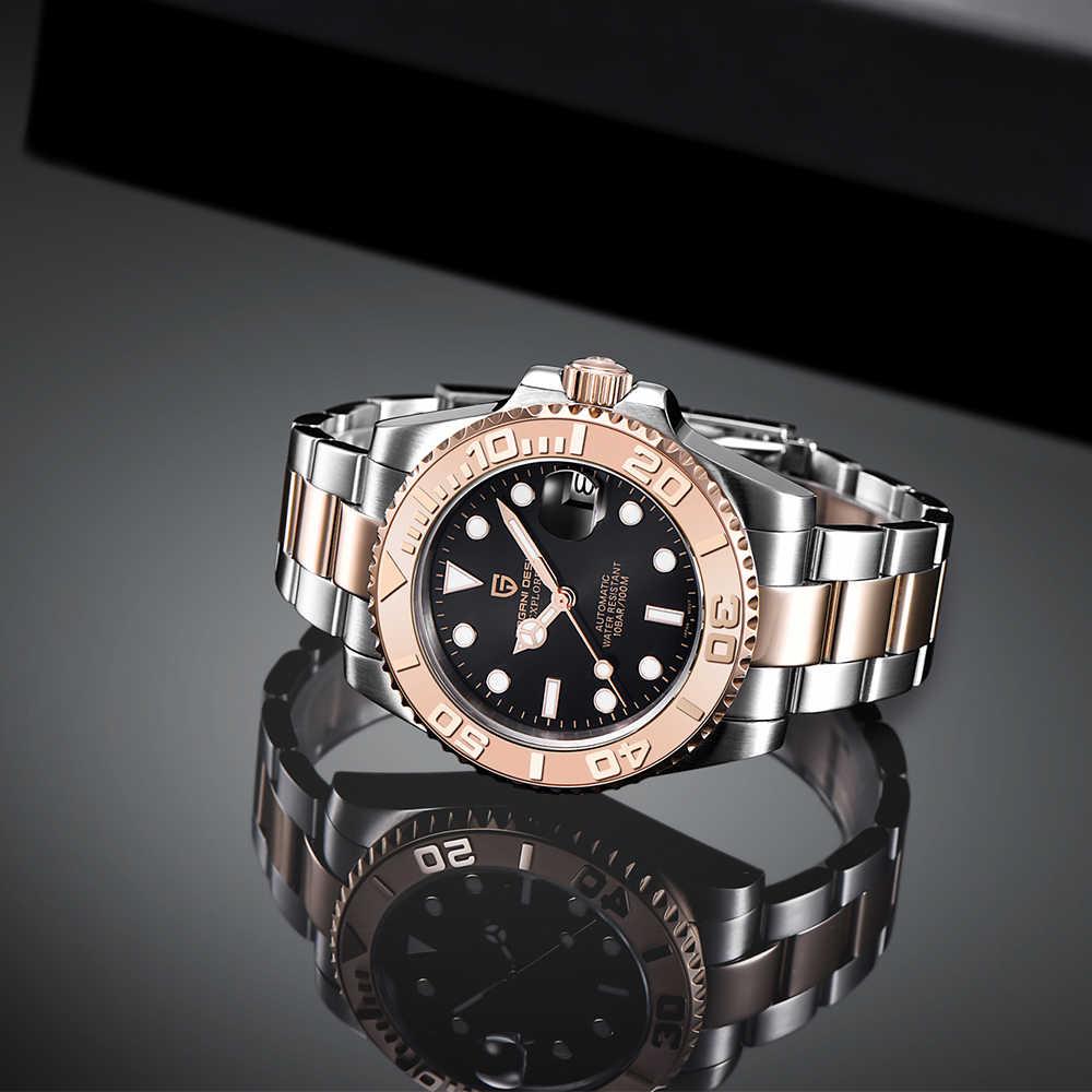 パガーニデザインステンレス鋼防水時計男性レロジオ masculino 男性腕時計自動サファイア高級機械式腕時計
