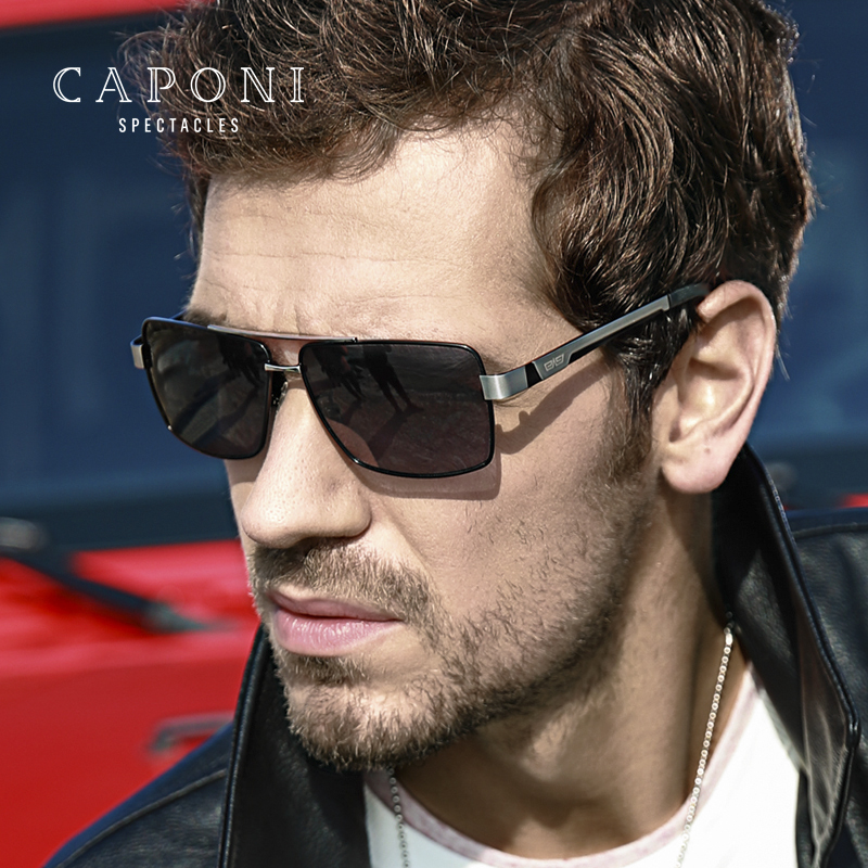 CAPONI Metal Sun Glasses Polarized Day And Night Driving Eyewear For Male High Quality Photochromic Sunglasses Oculos BS031