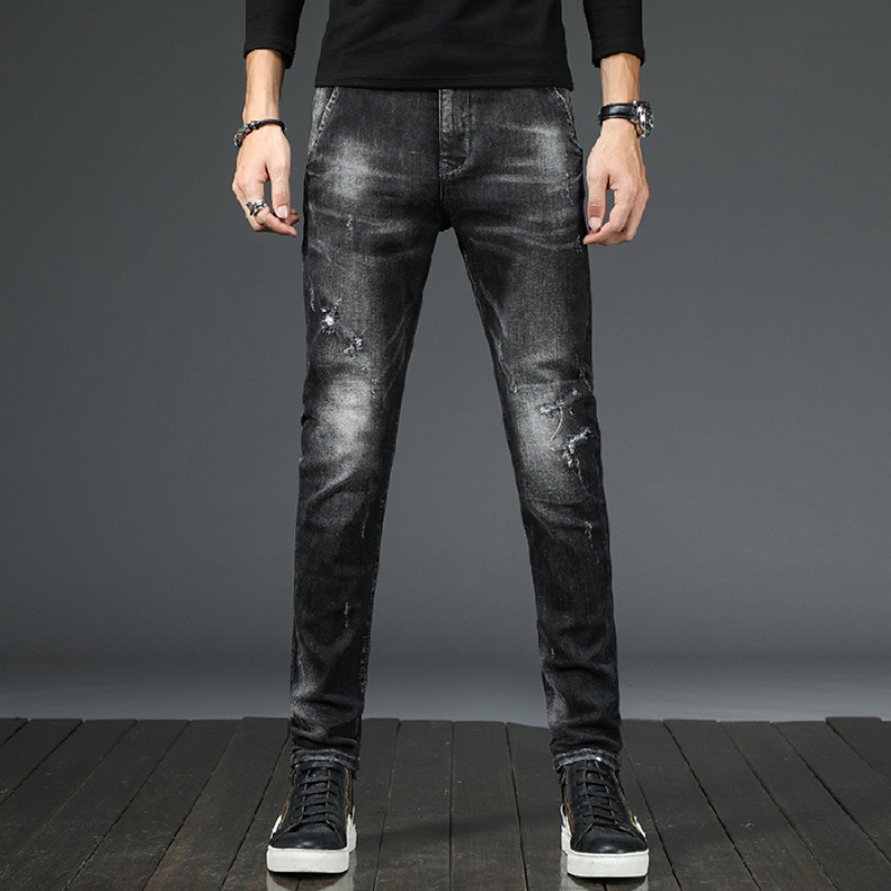 Men Printed Jeans Men's Popular Brand Casual Pants Embroidered Jeans Men's Beggar Skinny Pants Autumn And Winter