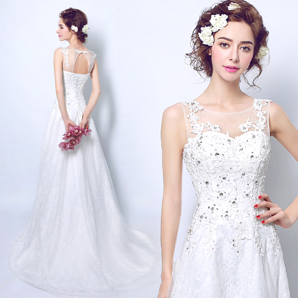 Special Offer!Noble Exquisite Embroidery Lace Beading  Wedding Dress/Wedding Photograph Dress 406