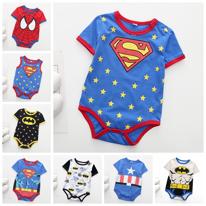 Newborn Baby Rompers For Toddler Boys Jumpsuit Superman Spiderman Batman Rompers Jumpsuit Baby Cartoon Clothing Set