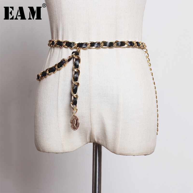 [EAM]  Pu Leather Metal Chain Split Joint Long Belt Personality Women New Fashion Tide All-match Autumn Winter 2019 1A053