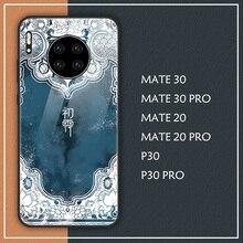 Chiński pałac w stylu Vintage styl etui na Huawei MATE 30 PRO MATE 20 PRO P30 PRO futerał na telefon ze szkła hartowanego mate30pro mate20pro