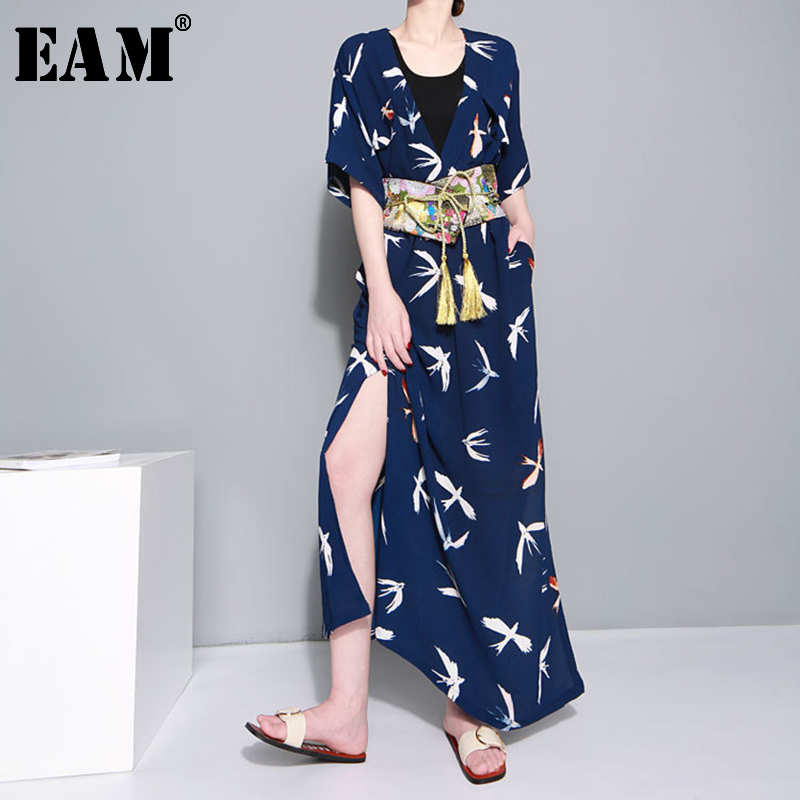 [EAM] Women Blue Pattern Printed Long Big Size Dress New V-Neck Long Sleeve Loose Fit Fashion Tide Spring Autumn 2020 JU183