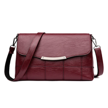 Womens Elegant Bags Small Soft PU Leather Shoulder Bag Plaid Red Black Long Strap Lady Crossbody-Bag