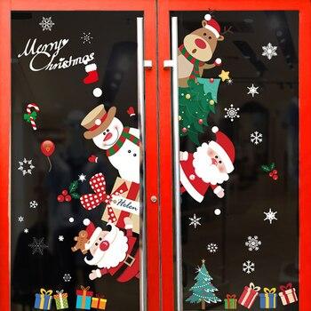 1pcs Merry Christmas Santa Claus Window Wall Sticker Christmas Decoration For Home 2020 Christmas Ornaments Xmas New Year 2021 merry christmas decoration banner christmas tree ornaments xmas santa claus pendant christmas gift new year decoration for home