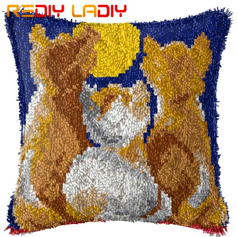 Loquet Crochet Kit faire votre propre coussin trois lune chatons acrylique fil Crochet taie d'oreiller loquet Crochet housse de coussin passe-temps & artisanat