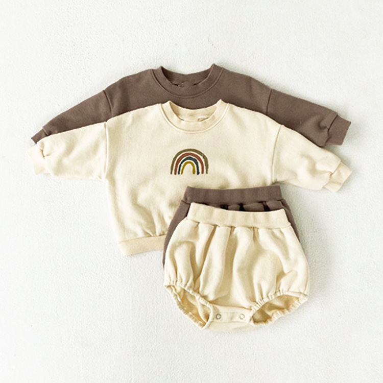 13.3US $ 20% OFF Clearance Apricot 73cm 5315 Baby Boys And Girls Rainbow Clothing Set Hoodies + Shor...