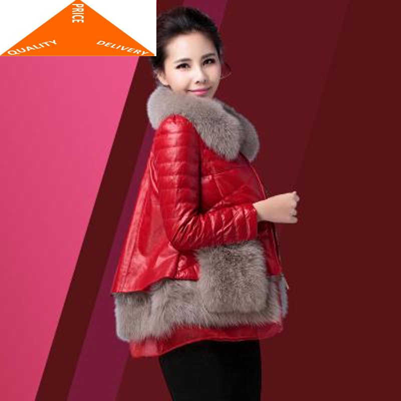 가죽 양피 정품 코트 여성 겨울 다운 재킷 여성 리얼 폭스 모피 후드 두꺼운 따뜻한 짧은 재킷 PY9595