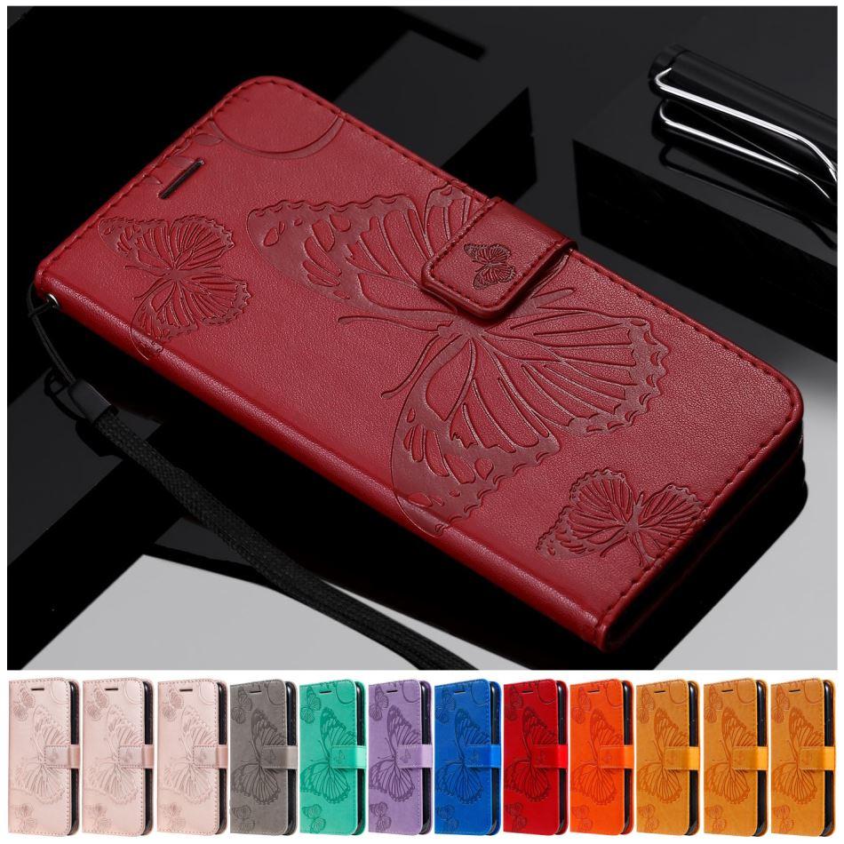 Butterfly Cute Flip Phone Case For Cover LG K10 K12 Plus K20 K30 2019 K40 K40S K50 Q60 Leather Flip Wallet Case Card Slot D06F
