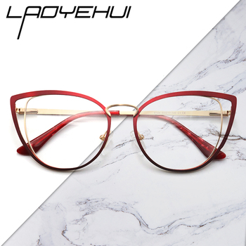 square oval cat eye metal optical prescription eyeglasses frames customizable fashion clear  fake glasses women without diopters