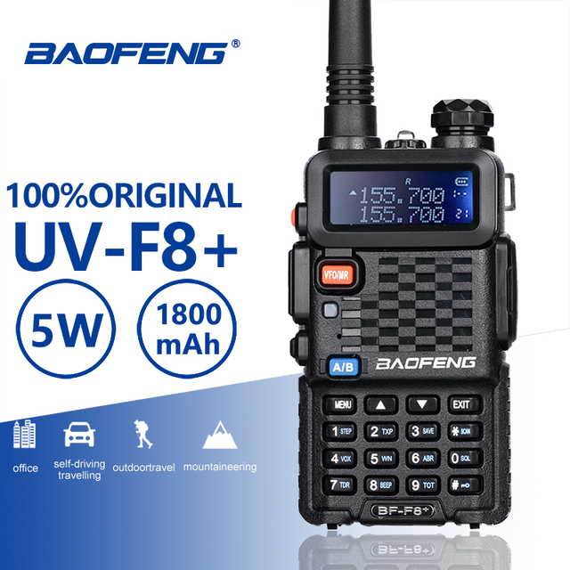 Baofeng BF F8 + อัพเกรดใหม่Walkie TalkieตำรวจวิทยุPofung F8 + 5W UHF VHF Dual Bandยาวกลางแจ้งHam Transceiver
