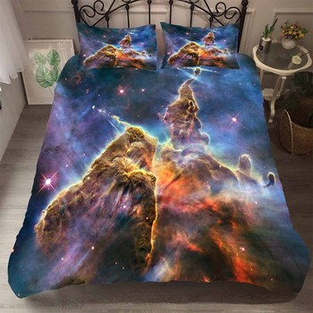 BEST.WENSD Printed Galaxy Quilt Set 3pcs Microfiber Fabric Reactive Printing Comforter Bedding Sets Kid Twin Full Queen King