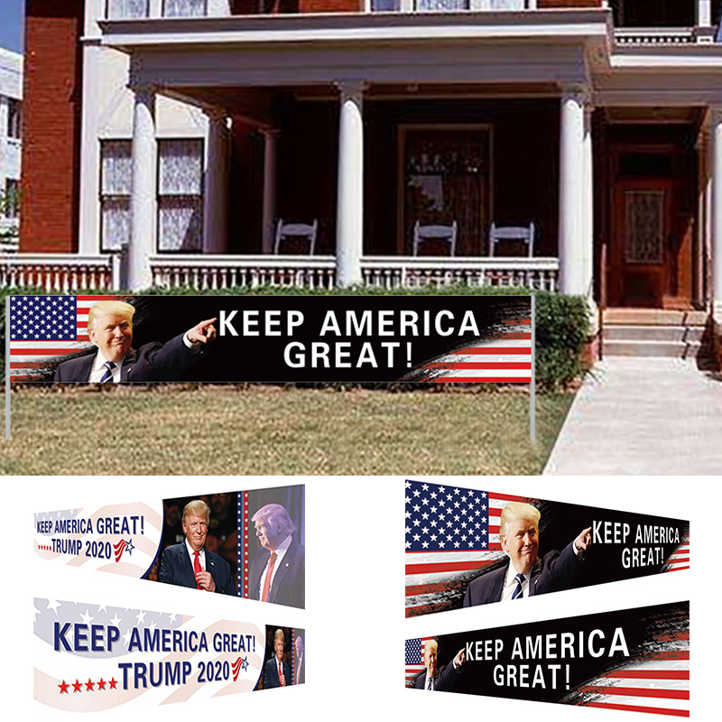 All Aboard The <font><b>Trump</b></font> Train Donald <font><b>Trump</b></font> <font><b>2020</b></font> US Presidential Election Flag Banner Keep America Great Flag 296x48cm free shipping image