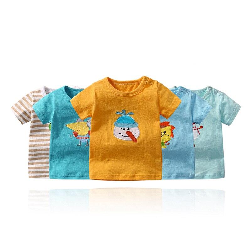 Random 5Pcs/lot Baby Cartoon Printed T-shirts Newborn Girls Boys Short Sleeve T-Shirt 0-24M Toddler Babes Cotton Tee Tops