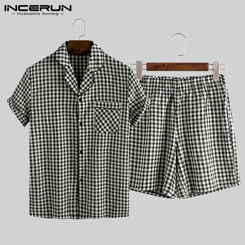 INCERUN Summer Pajamas Sets Men Plaid Lapel Homewear Button Short Sleeve Sleepwear Tops Shorts Soft Cotton Unisex Pyjamas Suit