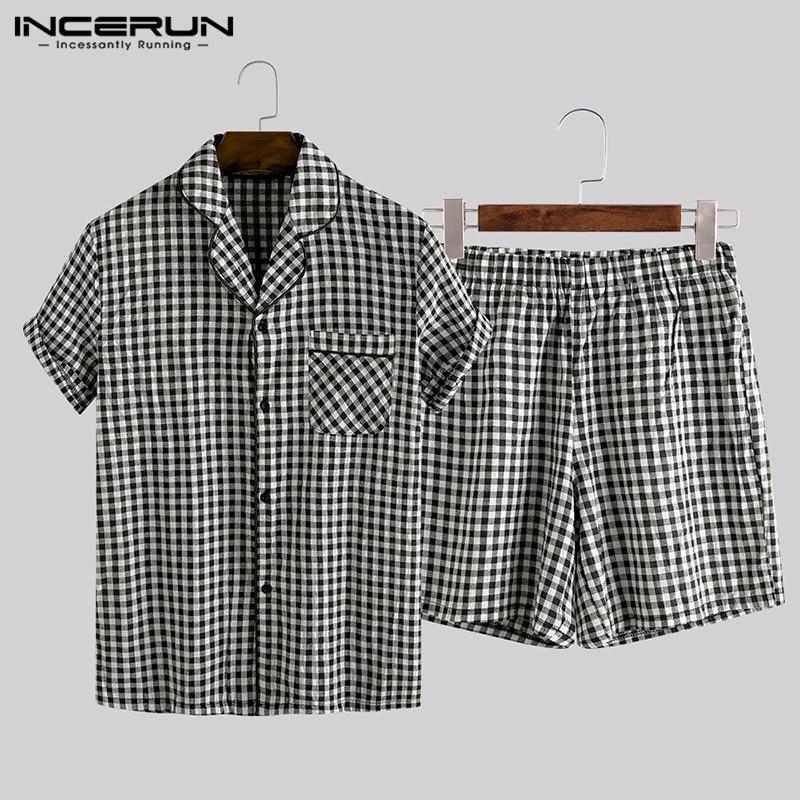 INCERUN Summer Pajamas Sets Men Plaid Lapel Homewear Button Short Sleeve Sleepwear Tops Shorts Soft Cotton Unisex Pyjamas Suit