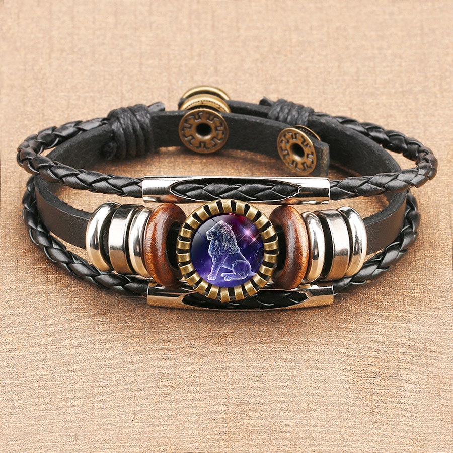 12 стилей новый ретро многослойный браслет из бисера двенадцать созвездий Archer Сказочный кожаный браслет Черная веревка унисекс подарок на д...