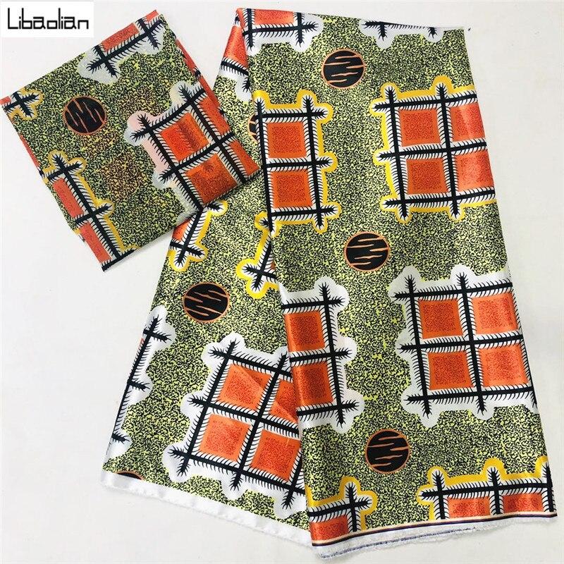 Очаровательный в африканском стиле из мягкой ткани сатин шелка с шифоными ткани для женщин платье шелковой атласной ткани Ткань с африканс...