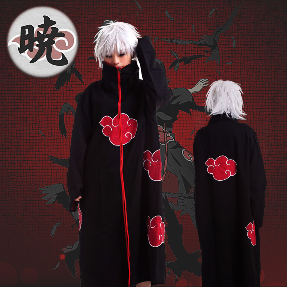 Anime Peripheral Naruto Xiao Organization Mantle With Lining Cloth COS Costume Zipper Clothes Clothing