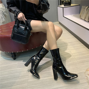 Image 5 - Celebrity Shoes Woman Boots Square Head High Heels Metal Sequins Black Leather Elastic Ankle Boots 2019 Winter Fashion Footwear