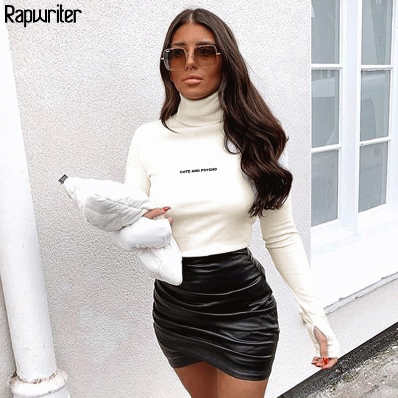 Rapwriter Casual Letter Embroidery Turtleneck Bodysuit Women 2020 Long Sleeve Body Ribbed Bodycon Slim White Bodysuits Basic Top