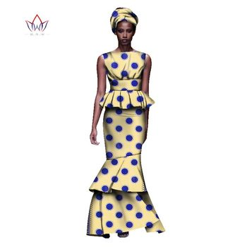2020 New African Dresses For Women Dashiki Ladies Clothes Ankara O-Neck Africa Clothes Two Pieces Set Natural 6xl None WY1054 - 23, L
