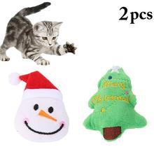 2pcs Pet Soft Plush Christmas Pet Toy Lovely Snowman Tree Cat Toy Interactive Gifts Catnip