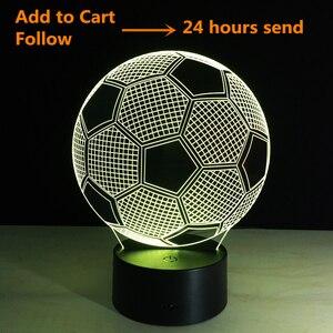 Image 2 - Oprawa oświetleniowa 3d piłka nożna LED lampka nocna pilot RGB 7 zmiana kolorów kryty lampka nocna lampa iluzoryczna