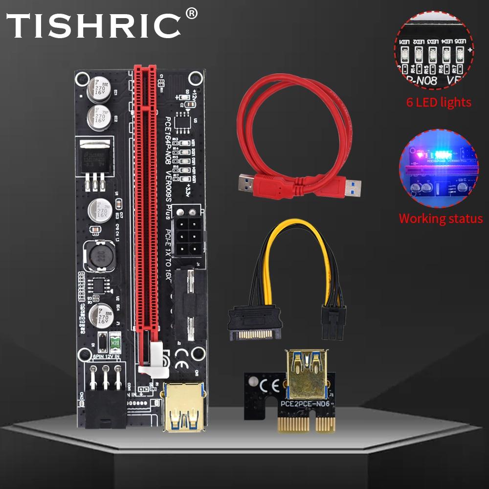 5pcs TISHRIC PCI-E Riser 009s Card PCIE PCI E Express USB 3.0 SATA to 6pin Adapter Riser For Video Card Cable Mining ETH BTC