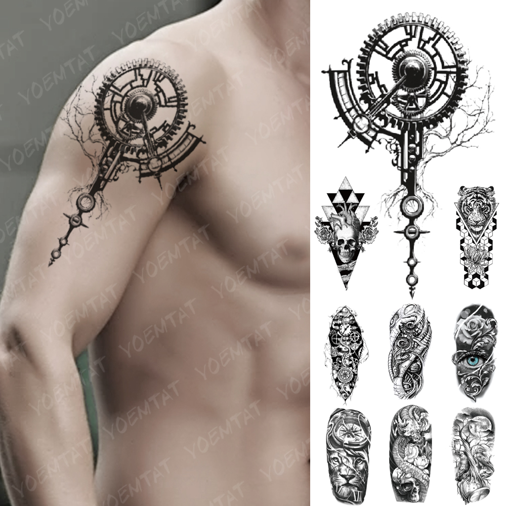 Waterproof Temporary Tattoo Sticker Mechanical Bionic Gear Flash Tattoos 3D Robot Electricity Body Art Arm Fake Tatoo Women Men