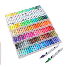 12/24/36-/.. Art-Markers Pencil Brush-Pen Highlighter Graffiti-Painting Dual-Use Back-To-School