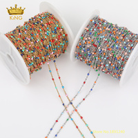 5meters Stainless Steel Wire Wrapped Colourful Enamel Dot Chains Links Small Enamel Beads Rosary Beaded Chains Findings 2mm