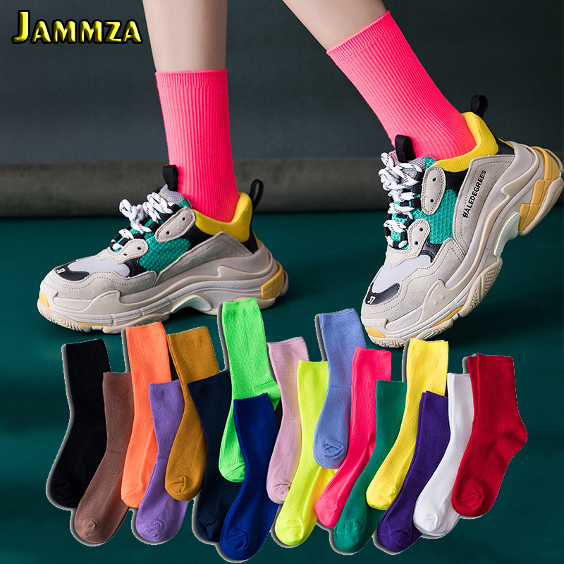 Candy Color Socks Women For Street Hiphop Harajuku Skateboard Woman's Meias Solid Fluorescent Sporty Fashion Pile Heap Mid Sock