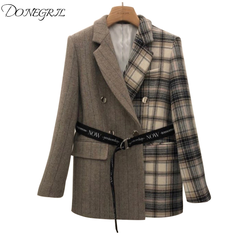 Autumn Korean Version Fashion Retro Plaid Single Clasp Waist Western Sleeve Jacket Women's Belt Plaid Patchwork Womens Blazers