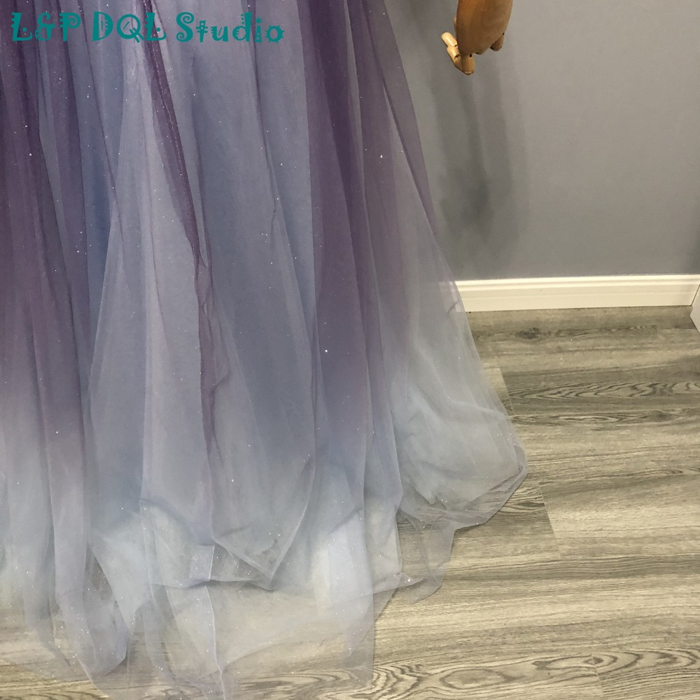 Sparkling Purple with Light Blue Bridesmaid Dresses Sexy V-Neck Pleats Tulle with Beading Sash Real Pictures
